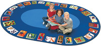 Carpets For Kids Reading by The Book Carpet, 8 Feet 3 Inches x 11 Feet 8 Inches, Oval Item Number 334729