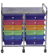 Mobile Organizer, 12 Drawers, 25 x 26 x 15-1/4 Inches, Multiple Colors Item Number 335905