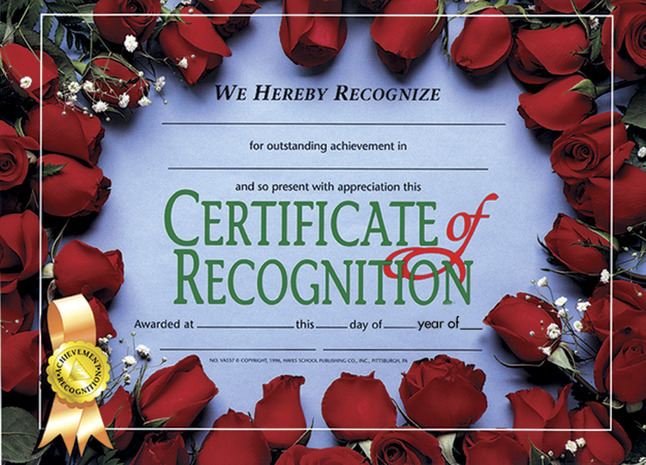 Award Certificates, Item Number 357058