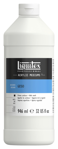 Liquitex Non-Toxic Ready-to-Use Acrylic Gesso, 1 qt Squeeze Bottle, Dries to a Brilliant White Item Number 390806