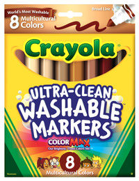 Crayola Multi-Ethnic Ultra-Clean Washable Markers, Conical Tip, Assorted Skin Tones, Pack of 8 Item Number 391127