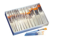 Royal Brush Waterproof Standard Golden Taklon Hair Acrylic Handle Paint Brush Combo Pack, Assorted Size, White, Pack of 144 Item Number