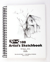 Sax 100 Artist's Sketchbook, 80 lb, 9 x 12 Inches, White Item Number 402683