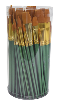 Sax Optimum Golden Synthetic Taklon Paint Brushes, Assorted Sizes, Set of 72 Item Number 404637
