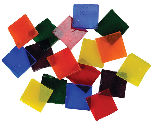 """3//4/"""" School Specialty 405437 Cathedral Stained Glass Square Mosaic Tiles 4 lb"""