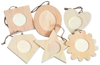 Creativity Street Wood Assorted Shape Frame Classroom Pack, 3 - 4 in, Set of 36 Item Number 405886
