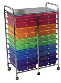 Mobile Organizer, 20 Drawers, 25 x 38 x 15-1/4 Inches, Multiple Colors Item Number 406832
