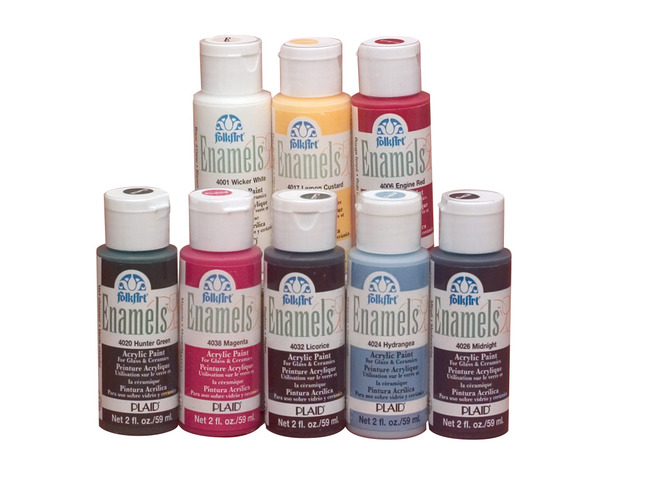 Folk Art Non Toxic Water Based Enamel Paint Set 2 Oz Bottle Multiple Color Set Of 8