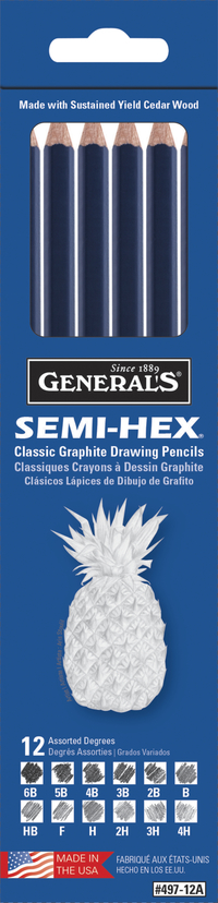 General's Semi-Hex Classic Non-Toxic Graphite Drawing Pencil Set, Assorted Tip, Black, Set of 12 Item Number 408357