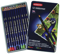 Derwent Inktense Colored Pencils with Tin, Assorted Colors, Set of 12 Item Number 409264