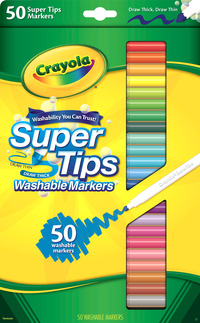 Crayola Super Tips Washable Markers, Assorted Colors, Set of 50 Item Number 410485