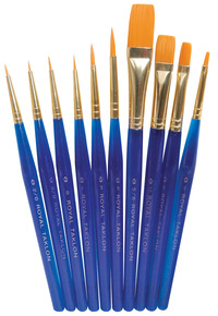 Royal Brush Light-Weight Golden Taklon Hair Acrylic Handle Ultra Short Brush Set, Assorted Size, Translucent Blue, Set of 10 Item Number 410603