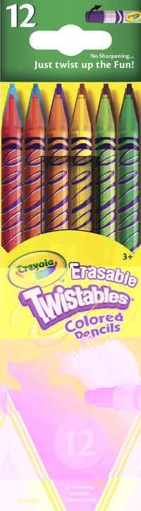 Crayola Twistables Erasable Colored Pencils, Assorted, Set of 12 Item Number 410771
