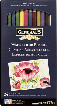 General Pencil Kimberly Acid-Free Non-Toxic Water Soluble Watercolor Pencil Set, Assorted Color, Set of 24 Item Number 411506