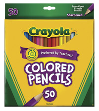 Crayola Colored Pencils, Full Size, Assorted Colors, Set of 50 Item Number 424986