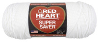 Red Heart Acrylic 4-Ply Dryable Machine Washable Economy Super Saver Yarn, White, 7 oz Skein Item Number 432020