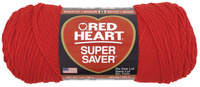 Red Heart Acrylic 4-Ply Dryable Machine Washable Economy Super Saver Yarn, Hot Red, 7 oz Skein Item Number 432038