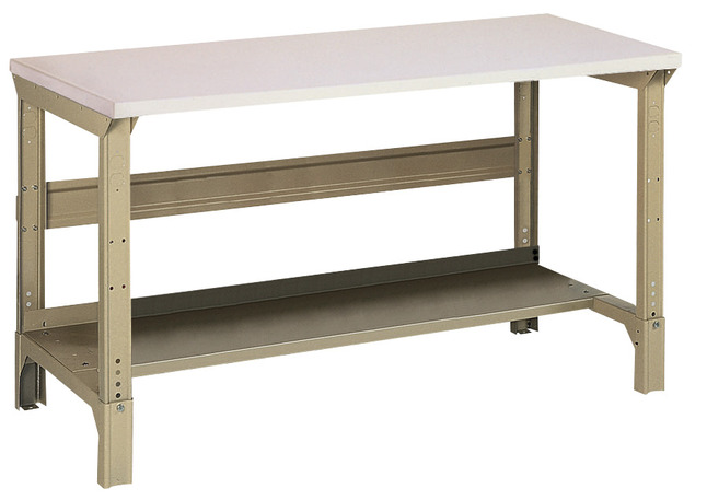 Pleasing Edsal All Purpose Adjustable Height Workbench 30 X 72 In Steel Tan Machost Co Dining Chair Design Ideas Machostcouk