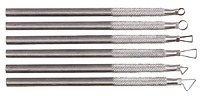Kemper Miniature Ribbon Sculpting Tool Set, 5 x 1/4 in, Aluminum Handle, Steel, Silver, Set of 6 Item Number 447794
