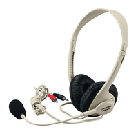 Califone 3064AV Multimedia Stereo Headset with Microphone, Dual 3.5mm plugs, Beige Item Number 471269