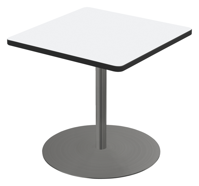 Image for Classroom Select Square Top Café Table with Round Base, Markerboard Top, 40 Inches, Black LockEdge, Various Options from School Specialty