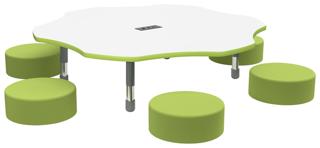 Image for Classroom Select Apollo Markerboard Activity Table with Power, Adjustable Height, T-Mold, Flower, 60 Inches, Various Options from School Specialty