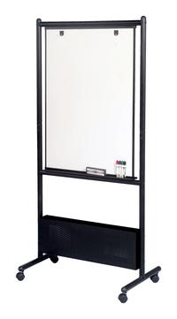 Best-Rite Nest Porcelain Dry Erase Whiteboard Easel, 31-1/2 x 24 x 72 Inches, Black Frame Item Number 675188