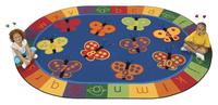 Carpets for Kids KIDSoft 123 ABC Butterfly Fun Rug, 6 Feet 9 Inches x 9 Feet 5 Inches, Oval Item Number 679219