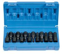 Grey Pneumatic 13-Piece Hex Driver Socket Set - Fraction/Metric, 3/8 in, Set of 13 Item Number